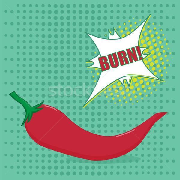 Поп-арт перец горячей красный вкус речи пузырь Сток-фото © Agatalina