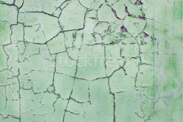 треснувший штукатурка зеленый стены аннотация городского Сток-фото © Agatalina