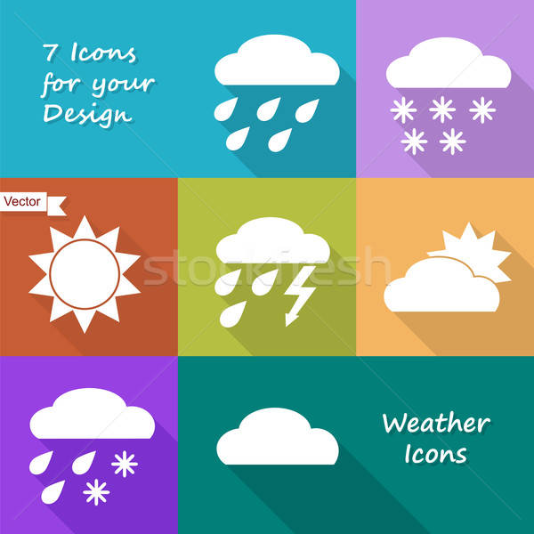 Colored icons design of weather forecast Stock photo © Agatalina