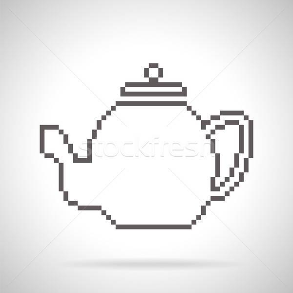 Czajniczek ikona sztuki stylu cień Zdjęcia stock © Agatalina