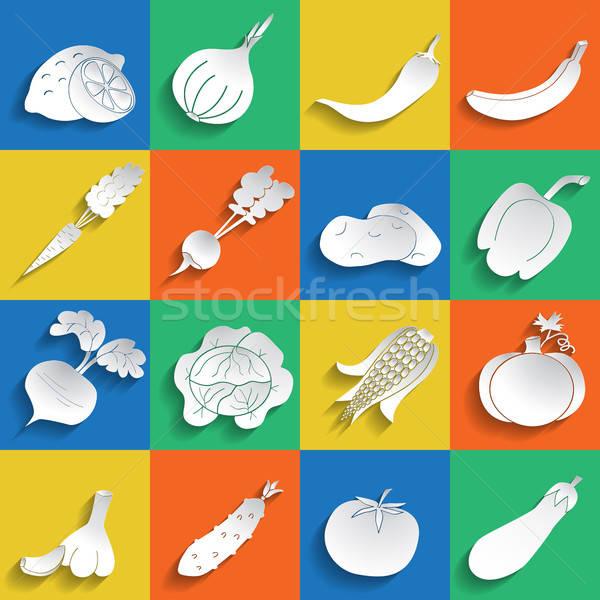 набор плодов овощей иконки бумаги стиль Сток-фото © Agatalina