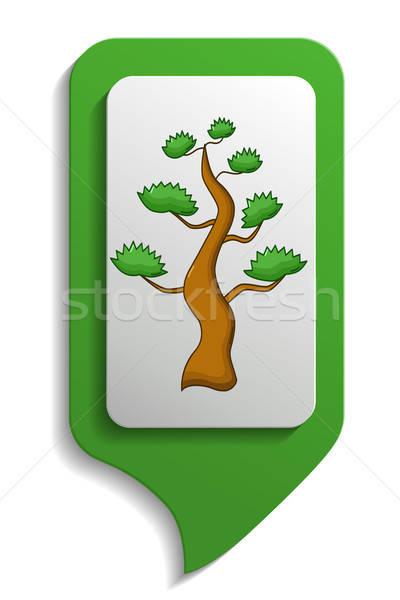 Térkép felirat bonsai fa ikon rajz Stock fotó © Agatalina