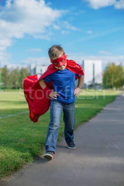 Süper kahraman çalışma ileri atlama erkek maske Stok fotoğraf © Agatalina