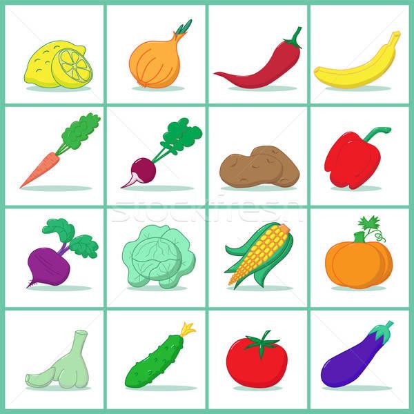 набор плодов овощей иконки красный томатный Сток-фото © Agatalina
