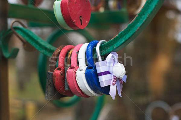 Hanging wedding padlocks Stock photo © Agatalina