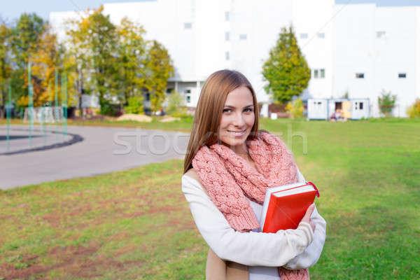 студент шарф улыбаясь трава красоту Сток-фото © Agatalina
