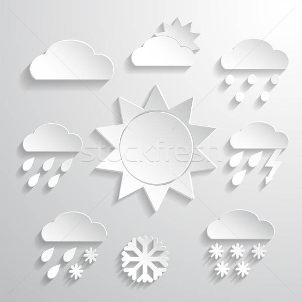 Weather icons white background Stock photo © Agatalina
