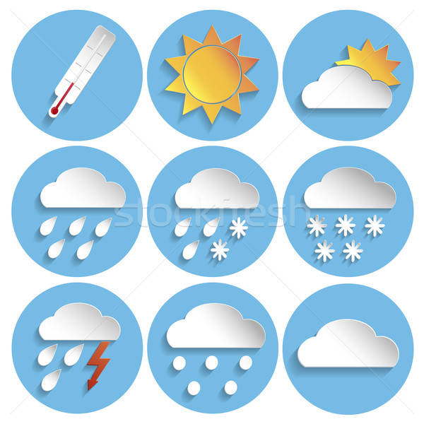 Weather icon set, paper style Stock photo © Agatalina