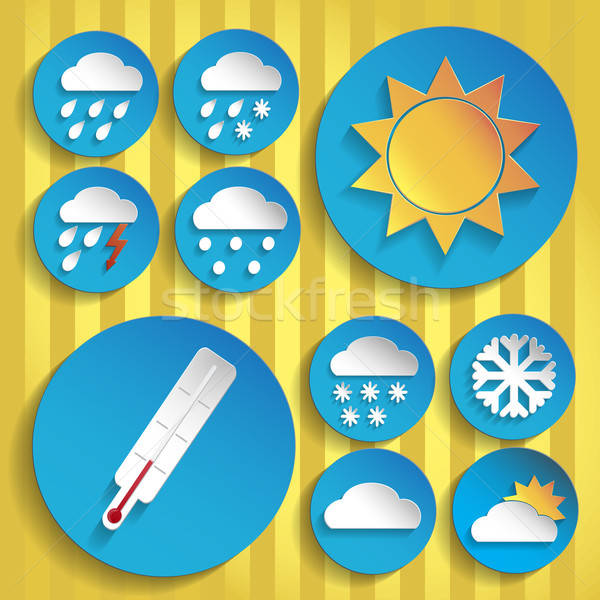 0094_Weather_icon_paper_set Stock photo © Agatalina