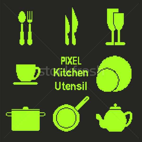 Pixel art kitchen utensil icons Stock photo © Agatalina