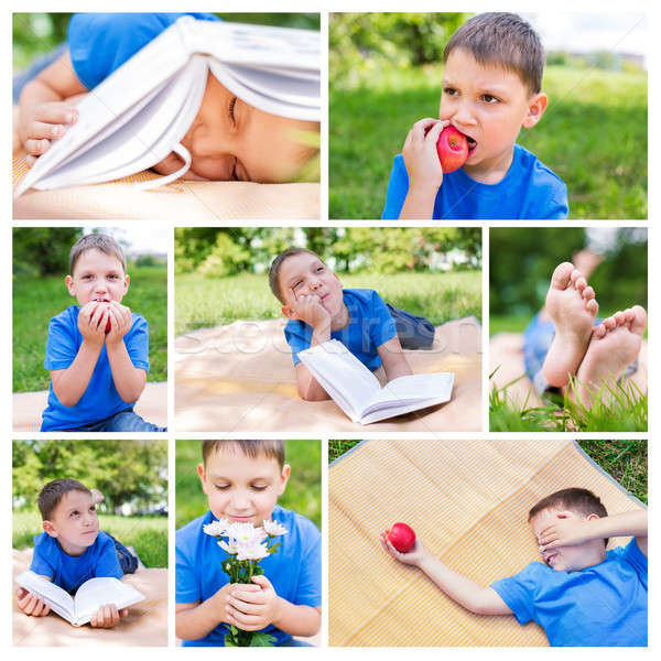 фото коллаж мальчика пикника яблоко книга Сток-фото © Agatalina
