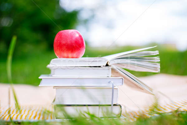 Open book with red apple Stock photo © Agatalina