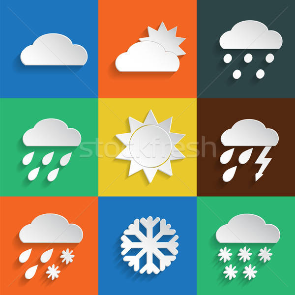 Weather icons colored background Stock photo © Agatalina