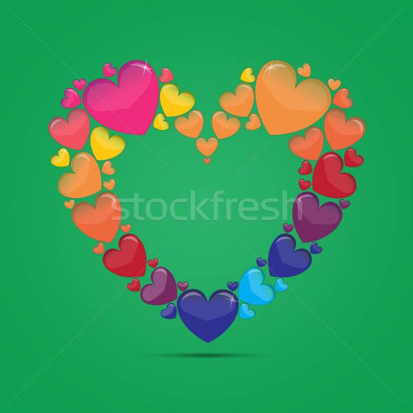 Vector Illustration - Colored Glass Heart Stock photo © Agatalina