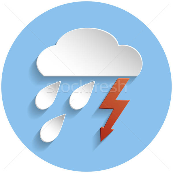 Thunderstorm cloud icon, paper style Stock photo © Agatalina