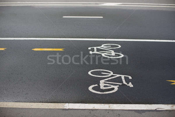 Bicicleta asfalto signo mojado calle Foto stock © Agatalina