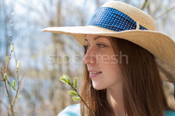 Freckled happy girl in hat looking away Stock photo © Agatalina