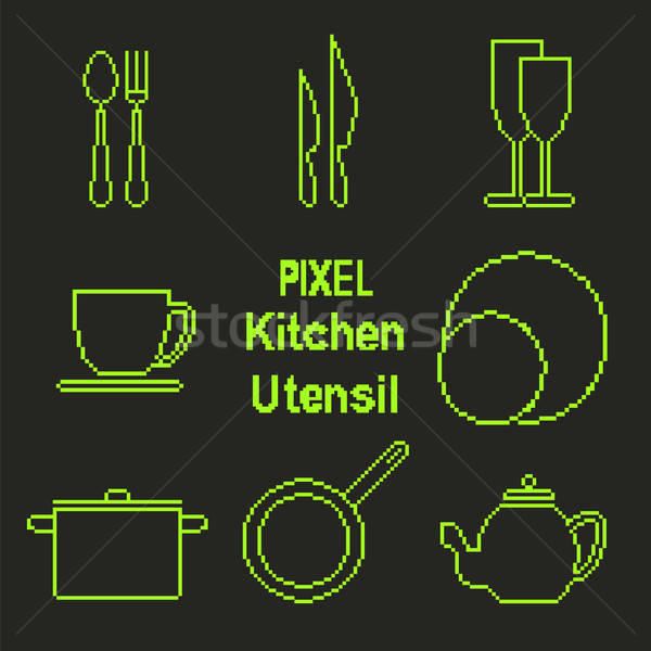 Pixel art outline kitchen utensil icons Stock photo © Agatalina