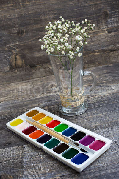 Gypsophila and watercolor paints on wooden background Stock photo © Agatalina