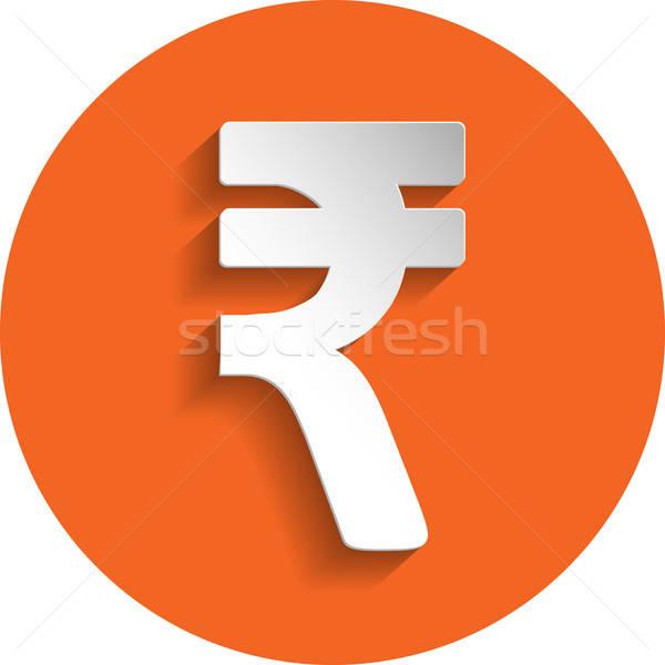 Rupee icon, paper style Stock photo © Agatalina