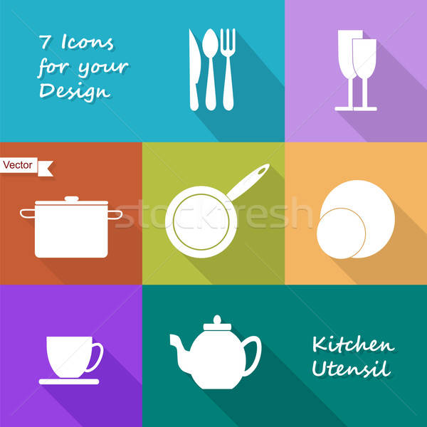 Seven icons of kitchen utensil Stock photo © Agatalina