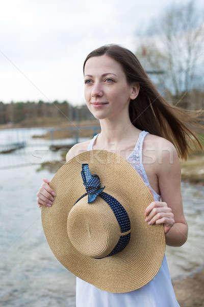 そばかすのある 幸せな女の子 帽子 白いドレス ストックフォト © Agatalina