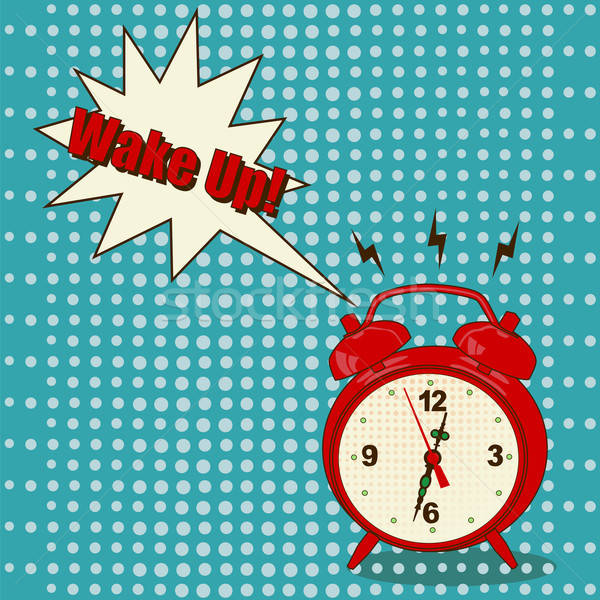 Budzik pop art stylu czerwony niebieski dyskusja Zdjęcia stock © Agatalina