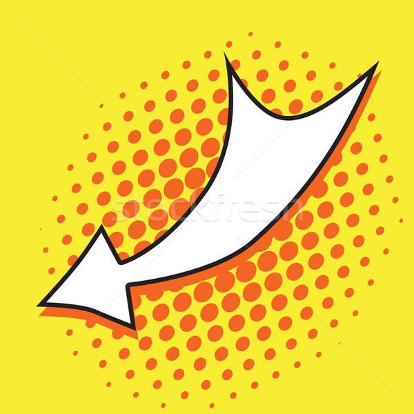 Поп-арт стрелка желтый дизайна искусства веб Сток-фото © Agatalina