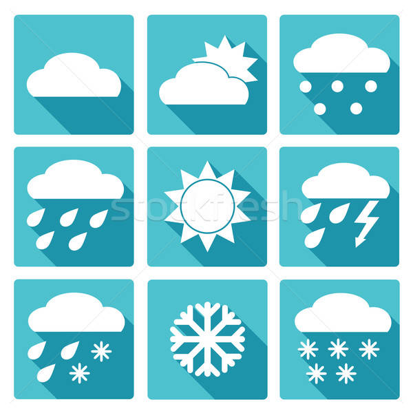 Blue square icons set of weather forecast Stock photo © Agatalina