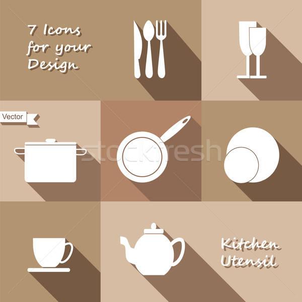 Seven monochrome icons of kitchen utensil Stock photo © Agatalina