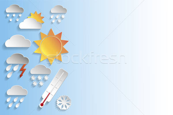 Weather paper signs on blue background Stock photo © Agatalina