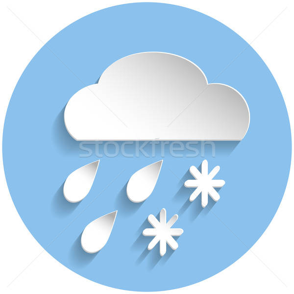 Snow and rain cloud icon, paper style Stock photo © Agatalina