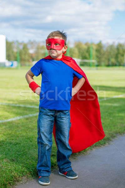 Superhero Постоянный глядя мальчика маске рук Сток-фото © Agatalina