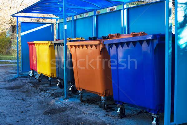 мусор несколько синий пластиковых город Сток-фото © Agatalina