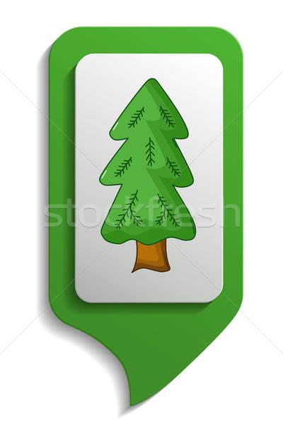 Térkép felirat lucfenyő fa ikon rajz Stock fotó © Agatalina