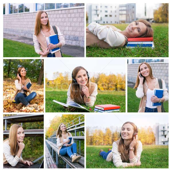 Foto collage studente campus tempo autunno Foto d'archivio © Agatalina