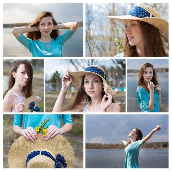 Fotografia kolaż dziewczyna hat happy girl jezioro Zdjęcia stock © Agatalina
