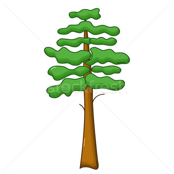 Pijnboom icon cartoon stijl geïsoleerd witte Stockfoto © Agatalina