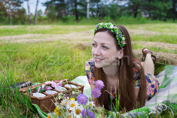 Girl lying on meadow Stock photo © Agatalina