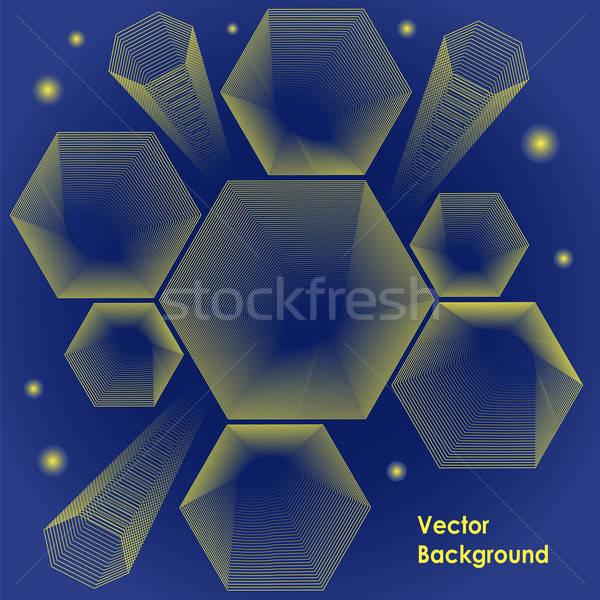 шестиугольник дизайна вектора параллельному линия синий Сток-фото © Agatalina