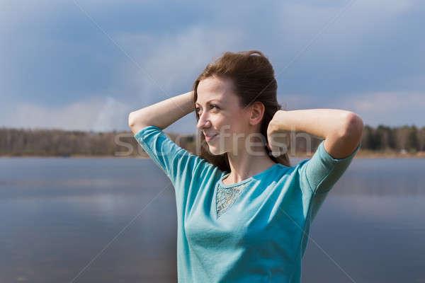 そばかすのある 幸せな女の子 目 手をつない ストックフォト © Agatalina