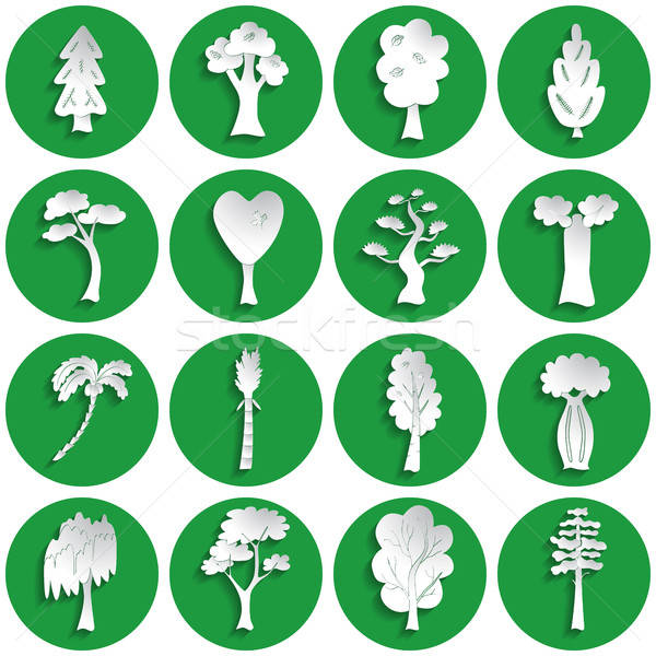 Set of tree icons Stock photo © Agatalina
