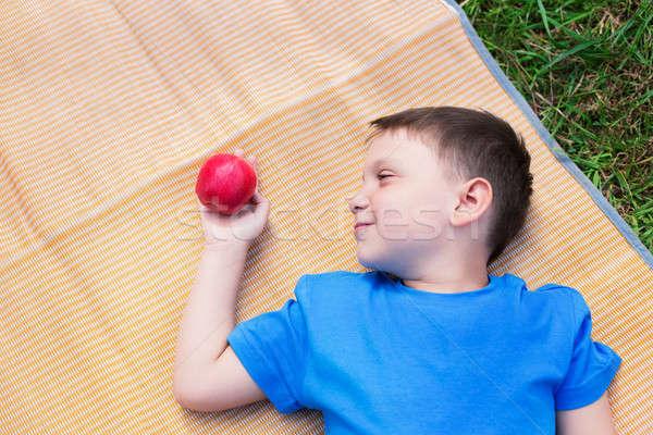 мальчика посмотреть яблоко красное яблоко природы Сток-фото © Agatalina