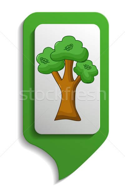 Mapa assinar carvalho ícone desenho animado estilo Foto stock © Agatalina