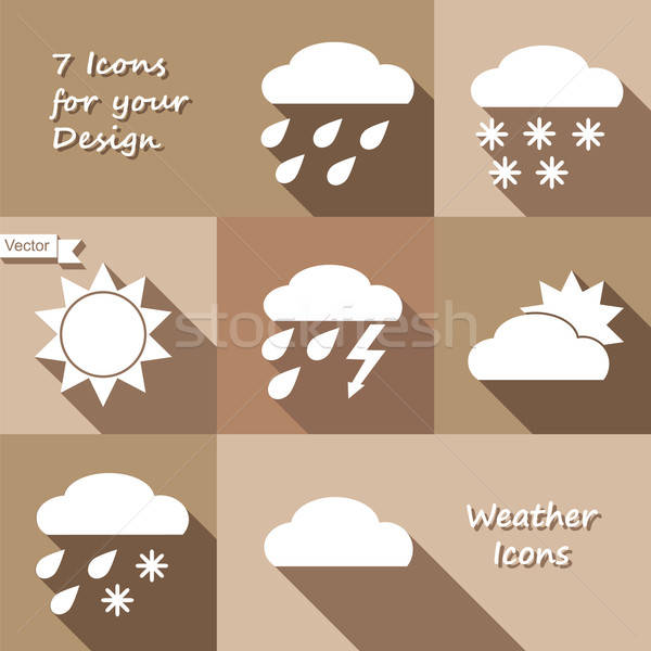 Monochrome icons design of weather forecast Stock photo © Agatalina