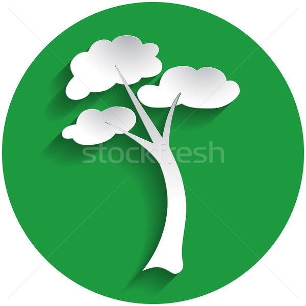Tree icon in paper style Stock photo © Agatalina