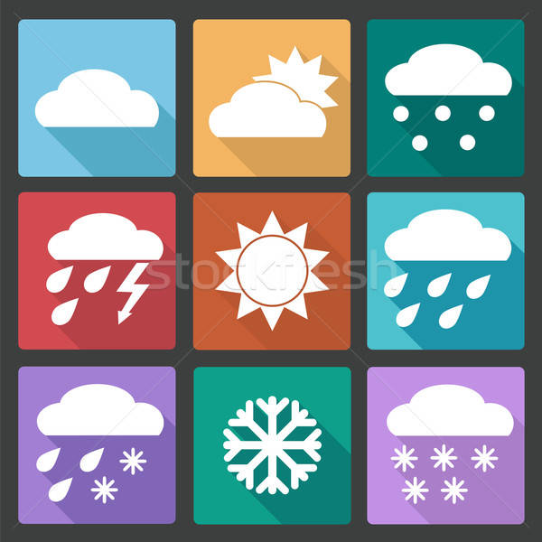Colored square icons set of weather forecast Stock photo © Agatalina