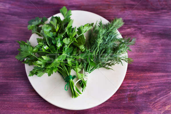 Two bunch of dill and parsley Stock photo © Agatalina