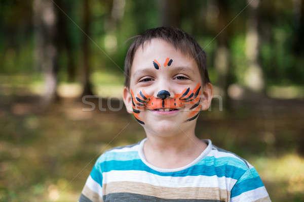 мальчика окрашенный лице тигр стиль глядя Сток-фото © Agatalina