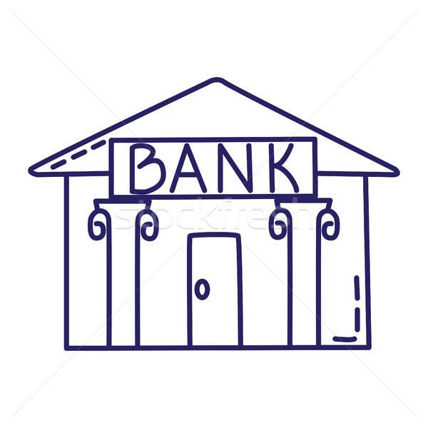 банка линия икона стиль белый бизнеса Сток-фото © Agatalina